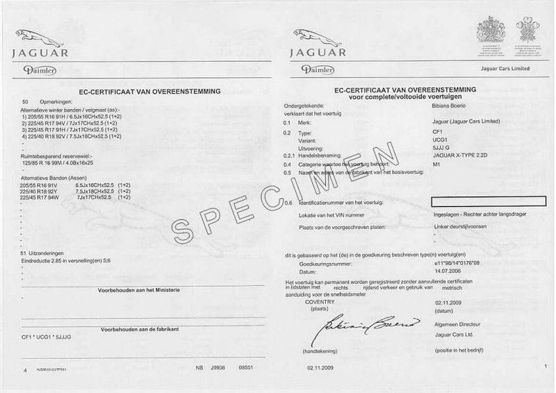 Vente de certificat de conformité Jaguar